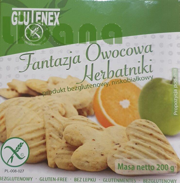 Печенье низкобелковое фантазия с фруктами Glutenex 200 гр.