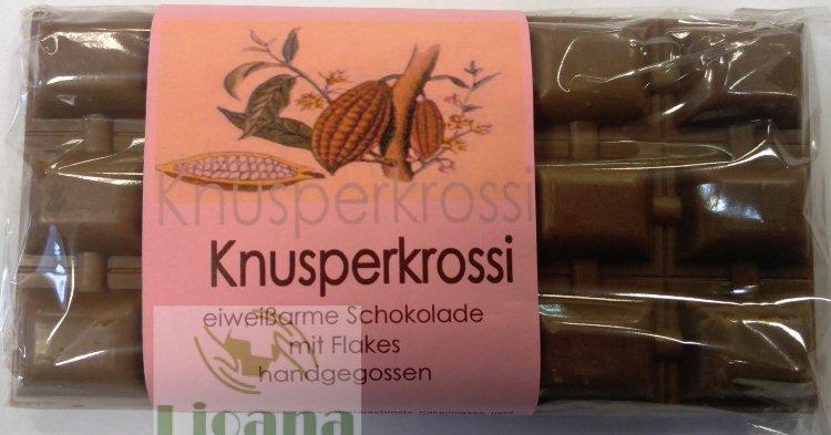 Шоколад с хрустящими хлопьями низкобелковый Knusperkrossi Huber