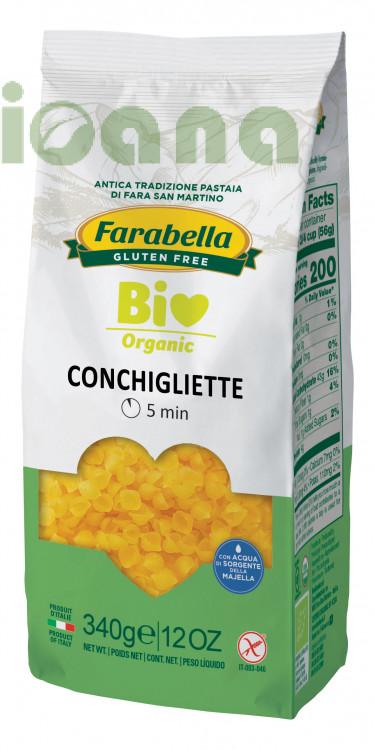 Pasta organic Conchigliette (corn&rice), Безглютеновая Паста органическая Ракушки 340 гр. Farabella