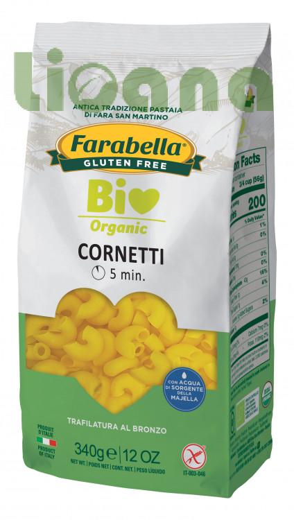Pasta organic Cornetti (corn&rice), Безглютеновая Паста органическая Рожки 340 гр. Farabella