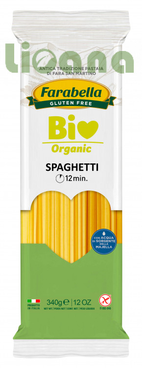 Pasta organic Spaghetti long (corn&rice), Безглютеновая Паста органическая длинная Спагетти 340 гр. Farabella