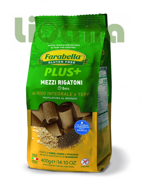Pasta Mezzi Rigatoni with brown rice & teff, Безглютеновая Паста Ригатони с бурым рисом и тефф 400 гр. Farabella