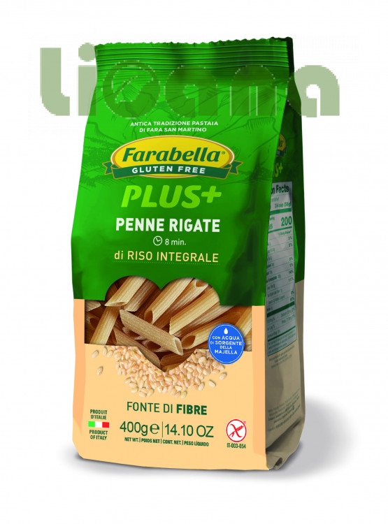Pasta Penne Rigate with brown rice, Безглютеновая Паста Пенне с бурым рисом 400 гр. Farabella