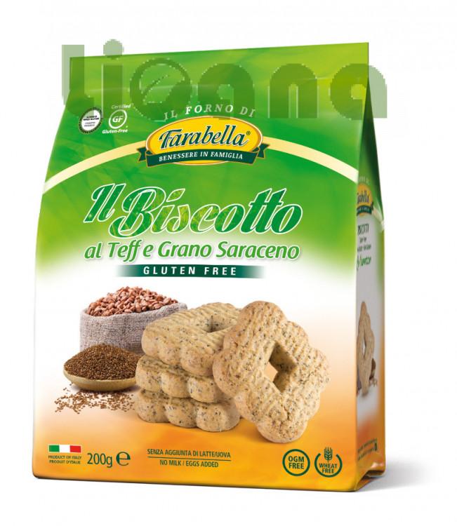 Cookies with Teff & Buckwheat, Безглютеновое Печенье с тефф и гречневой мукой 200 гр. Farabella